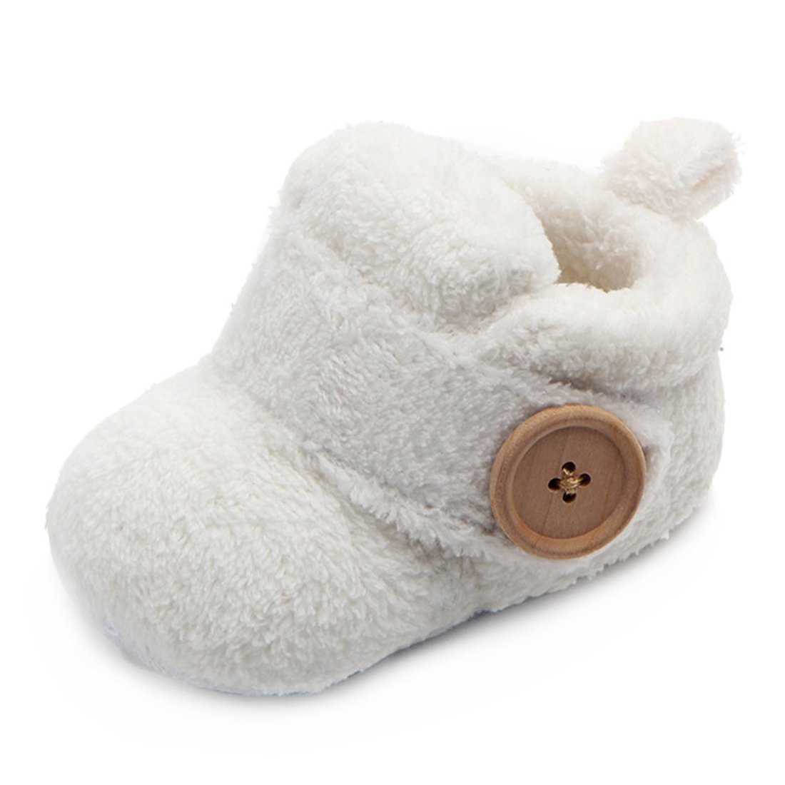 Beeliss Baby Boots Plush Warm Shoes (0-6 Months, White)