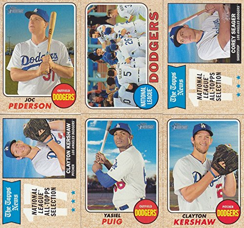 Collection Team Basics (Los Angeles Dodgers 2017 Topps Heritage Series 15 Card Basic Team Set with Corey Seager and Clayton Kershaw Plus)