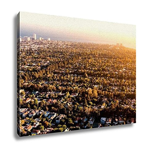 Ashley Canvas, Aerial View Of Los Angeles Ca Near Century City, Kitchen Bedroom Dining Living Room Art, 24x30, - City Santa Monica Century