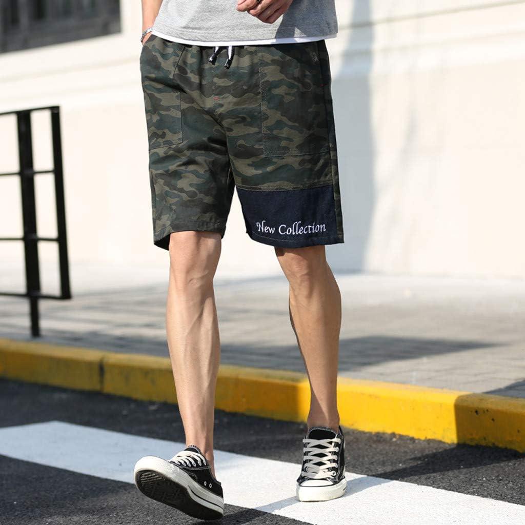 Palarn Sports Pants Casual Cargo Shorts Mens New Summer Casual Loose Patchwork Camouflage Printing Beach Shorts Pants