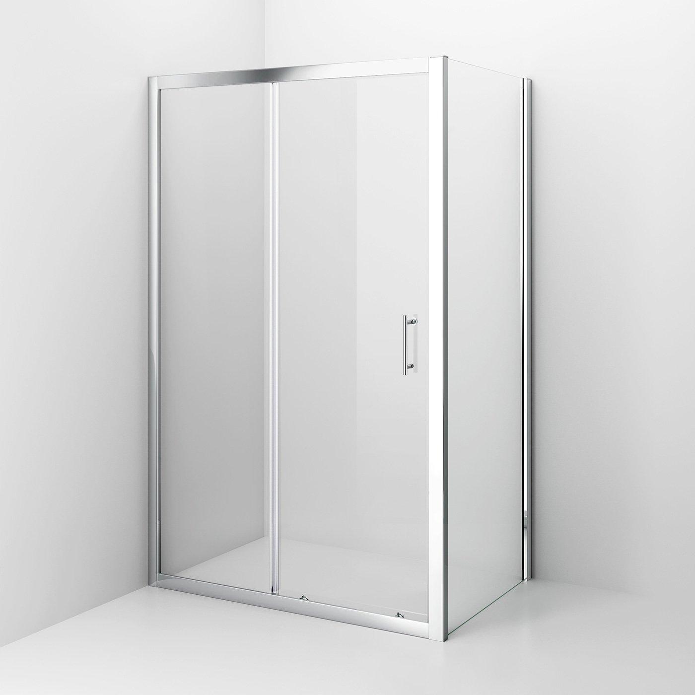 iBathUK 1200 x 800 Modern Sliding 6mm Glass Shower Enclosure Cubicle ...