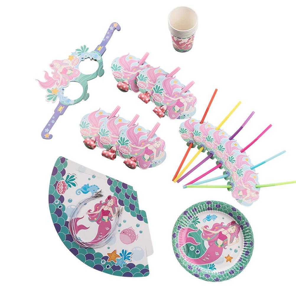 Amosfun Sommer Party Meerjungfrau Themed Einweggeschirr Papier Stroh Tasse Teller Set f/ür Kinder Geburtstagsparty Kit 36 St/ücke
