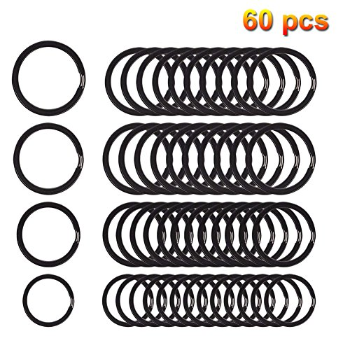 60 pieces Split Key Rings Metal Keychain Ring for Home Car Keys Organization (Four Sizes) (Black) -