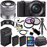 Sony Alpha a5100 Mirrorless Digital Camera with 16-50mm Lens (Black) + Sony SEL 1855 18-55mm Zoom Lens + 64GB Bundle 15 - International Version (No Warranty)