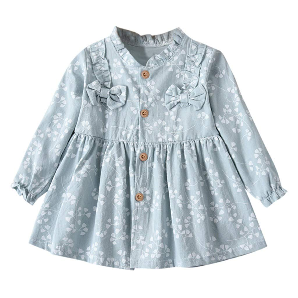 Infant Dresses 0-3 Months,Toddler Baby Girls Long Sleeve Solid Ruched Floral Flower Bow Dressed Clothes,Light Blue,3-4T