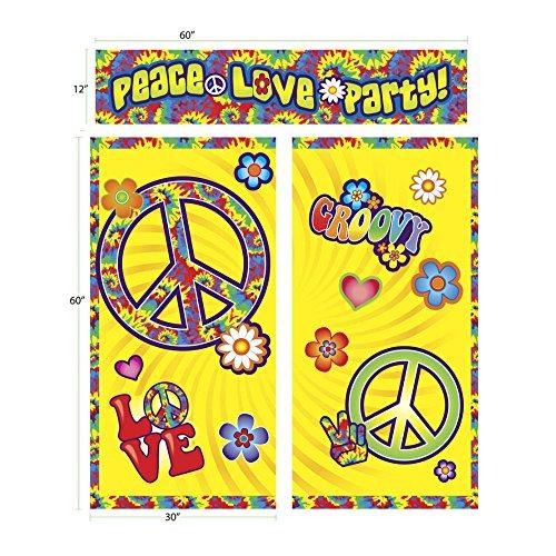HIPPIE SCENE SETTER PEACE Sign LOVE PARTY Wall Decoration Backdrop Tie Dye Decor