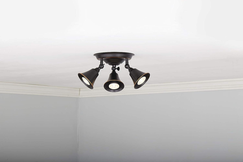 Living Room /& Bedroom Hallway Perfect for Kitchen Adjustable Semi-Flush-Mount Ceiling Light Fixture NOMA Track Lighting 3-Light Bronze
