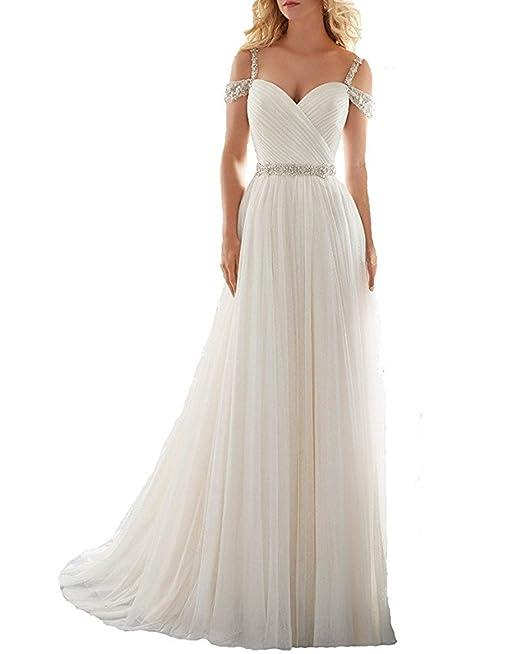 XUYUDITA Una l¨ªnea de Correas Rebordear Vestido de la Corte Tren Tulle Beach Wedding
