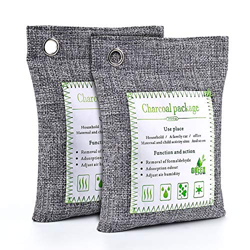 Lyhope Air Purifiers Bag, Bamboo Charcoal Air Freshener and Odor Eliminator Bag, Air Filter Purifier for Cars, Closets, Bathrooms and Pet Areas (2 x 200g)