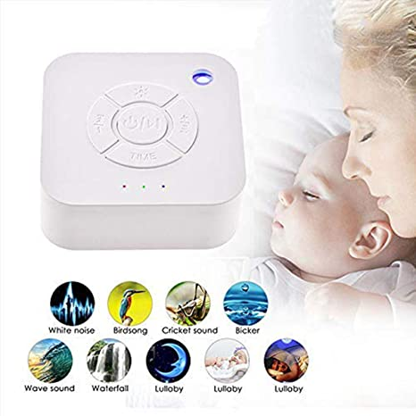 Máquina de ruido blanco, USB recarga mini máquina de sonido de sueño con 9 relajantes sonidos de la naturaleza, LED luz de respiración temporizador ...