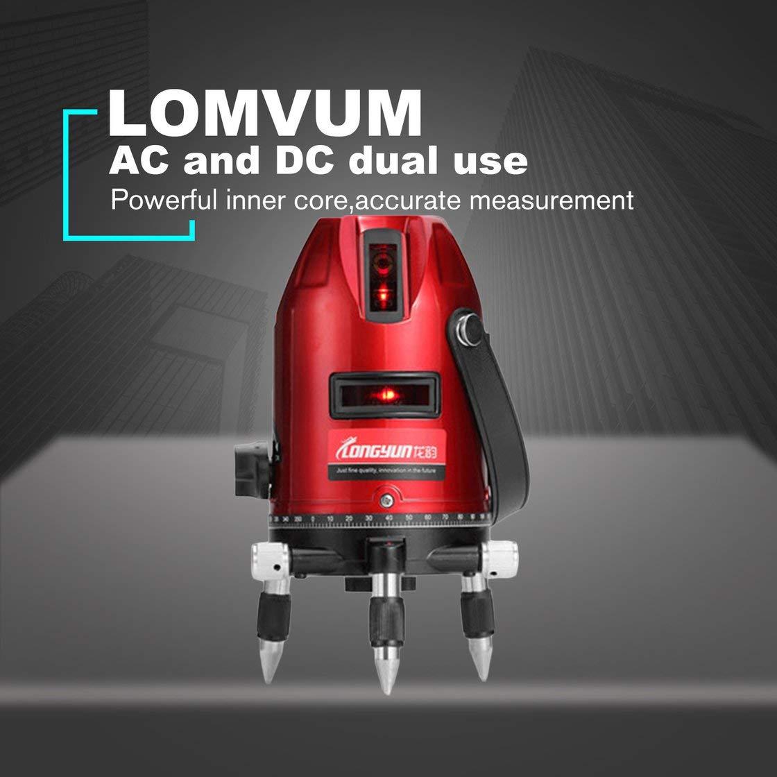LOMVUM L6000100 3Lines Niveau laser ext/érieur 4 points Niveau autonivelant 360 Inclinaison verticale et horizontale Niveau de tr/épied Niveau