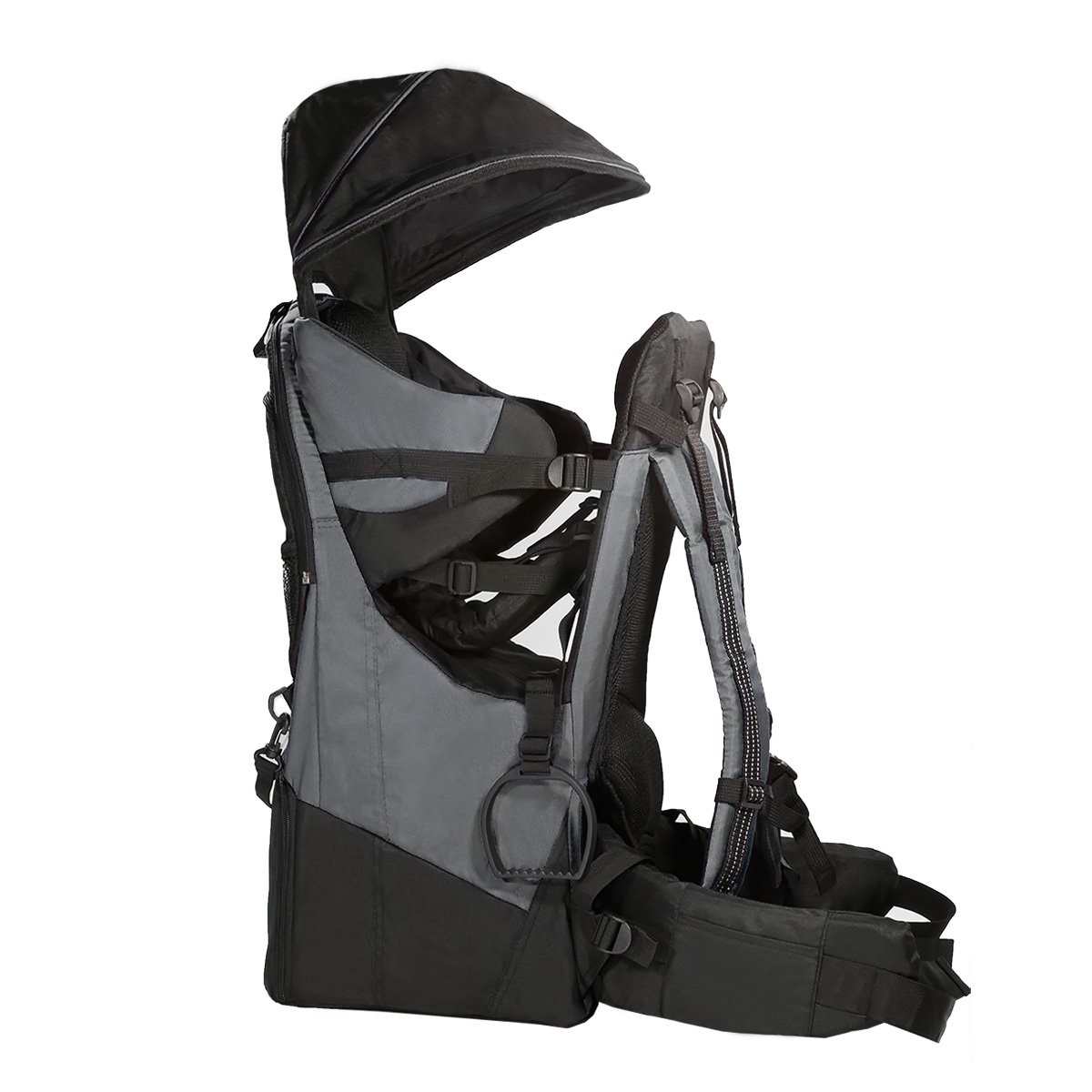 ClevrPlus Deluxe Baby Backpack Hiking Toddler Child Carrier Lightweight with Stand Sun Shade Visor, Grey 1 Year Limited Warranty