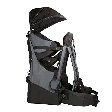 Clevr Deluxe Baby Backpack Hiking Toddler Child Carrier Lightweight with Stand Sun Shade Visor, Grey 1 Year Limited Warranty