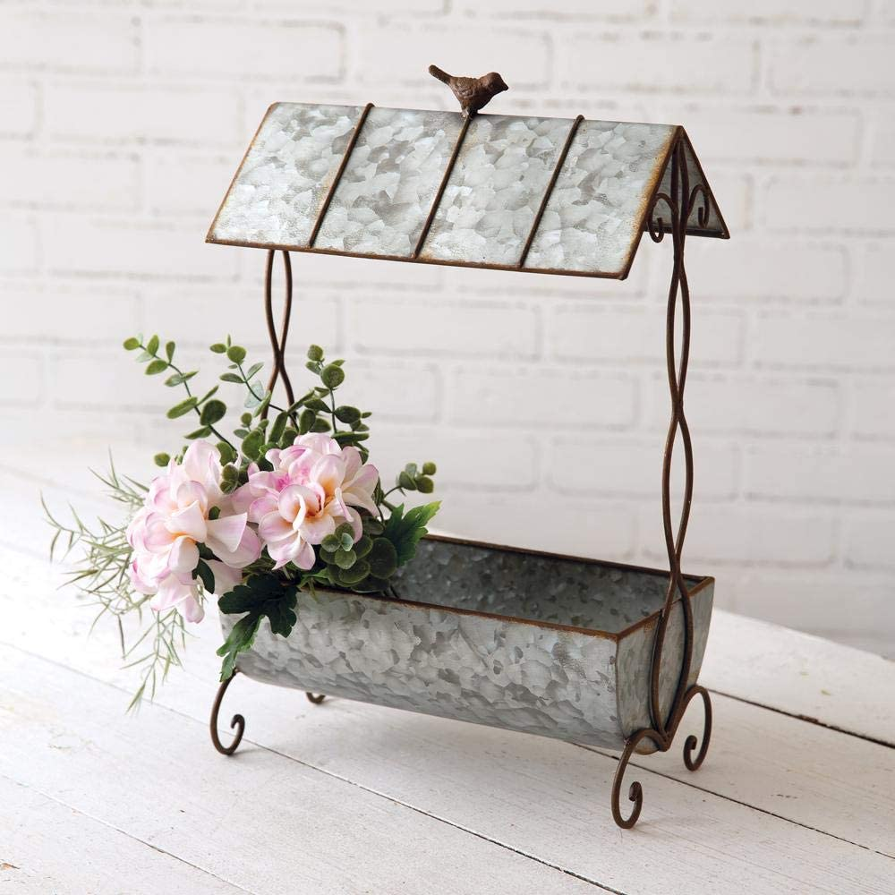 Rustic Planter with Tin Roof All Metal Twisted Vine Design Bird Accent