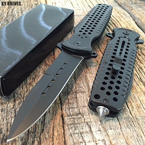 LARGE Black Spring Assisted Open BOWIE Rescue Tactical Pocket Knife