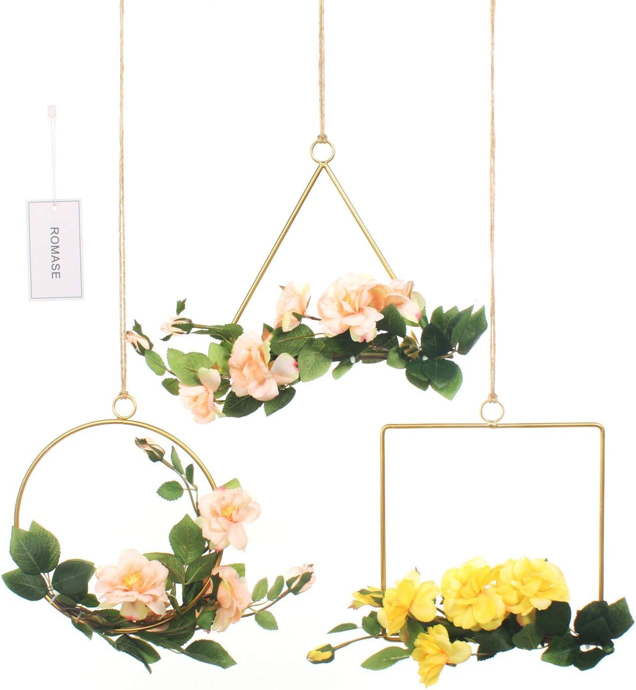 Romase Floral Hoop Wreath Set of 3 Artificial Iceberg Rose and Eucalyptus Vine Wreath for Wedding Party Backdrop Wall Garden Balcony Home Décor