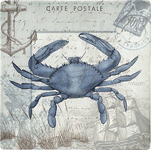 Merritt Seaside Postcard Crab 8-inch Square Melamine Plates, Set of - Square Merritt
