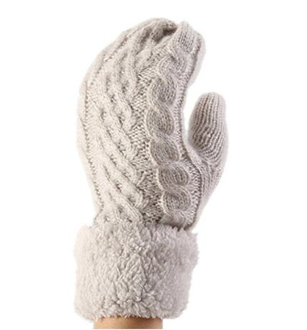 Genius_Baby Mohair Cable Stripe Thick Plush Knit Winter Warm Gloves (Light Gray)