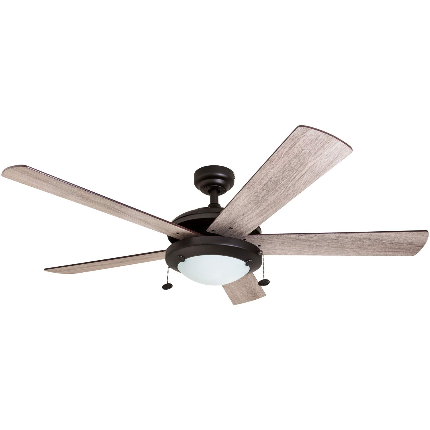 Prominence Home 80099-01 Bolivar LED Ceiling Fan, Modern Farmhouse, 52 Dual-Finish Blades, Espresso