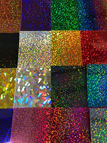 """Siser Holographic HTV Heat Transfer Vinyl for T-Shirts Set of 16 Colors 12""""x10"""" Sheets + Weeder"""