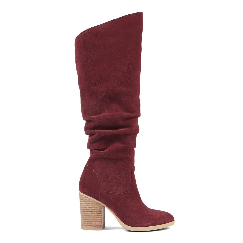 71a8c4fd5b3 Amazon.com | Nine West Women's Abee Over The Knee Suede Boots, Wine ...
