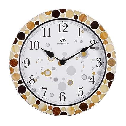 reloj de pared pastoral sala de estar mudo creativo de coco mediterránea de la roca mosaico