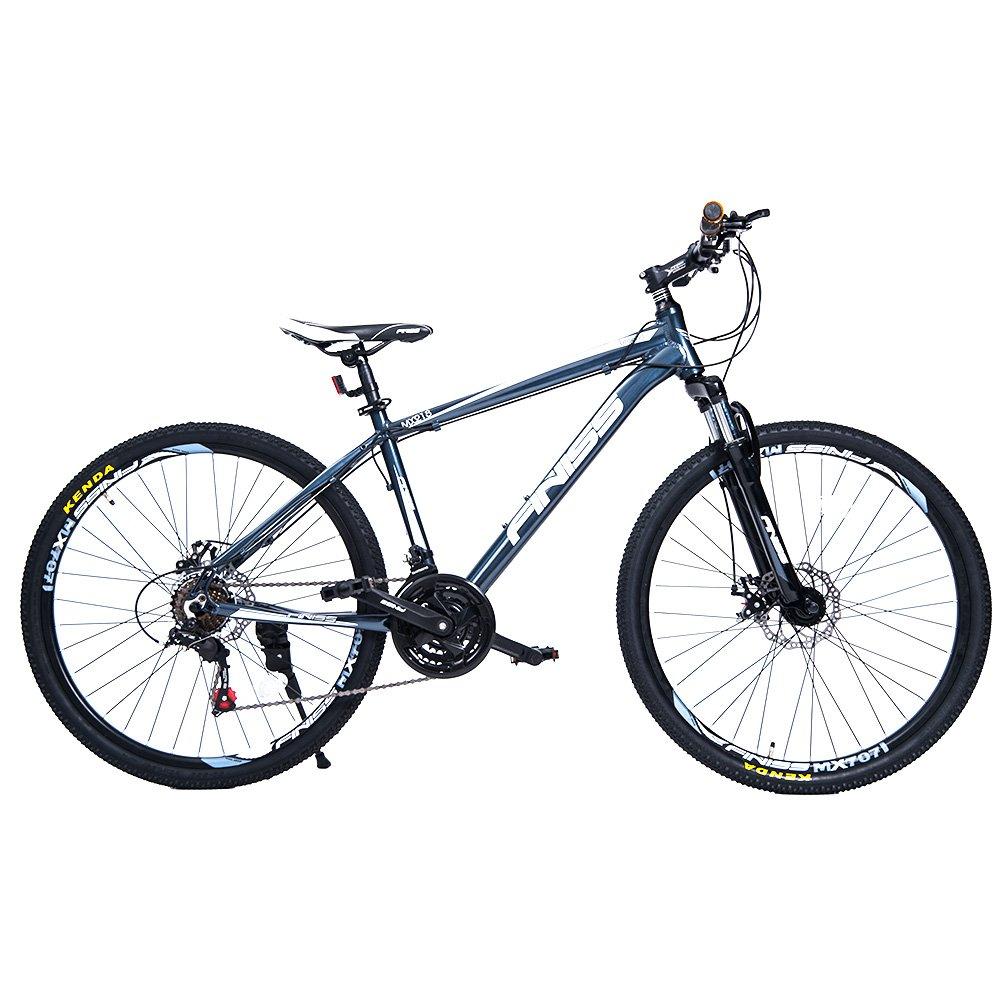 (オーエスジェー) OSJ 自転車 アルミマウンテンバイク 26インチ アルミフレーム MTB フロントサスペンション シマノ21段変速 B01MYV5B8B ハイフレーム|グレー グレー ハイフレーム