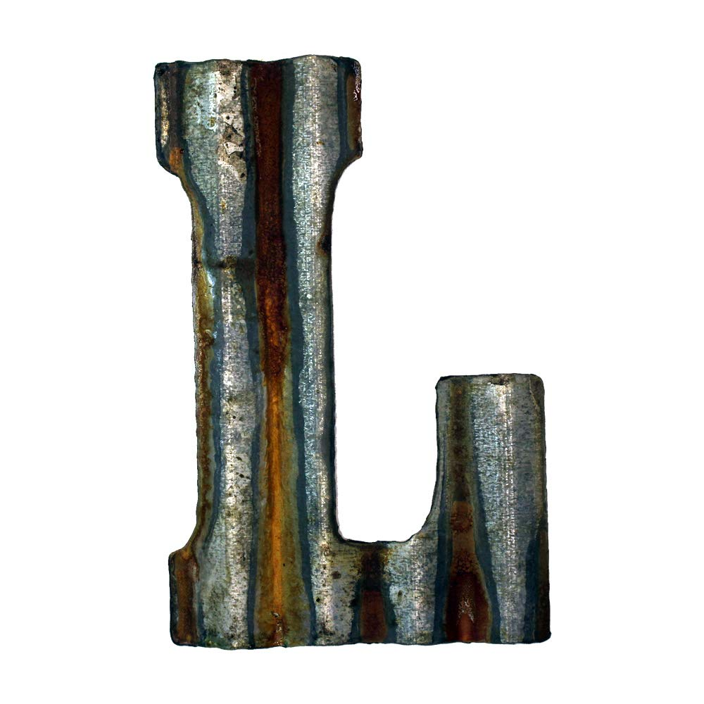 Custom Cut Decor 8'' Rusty Galvanized Corrugated Metal Letter -L