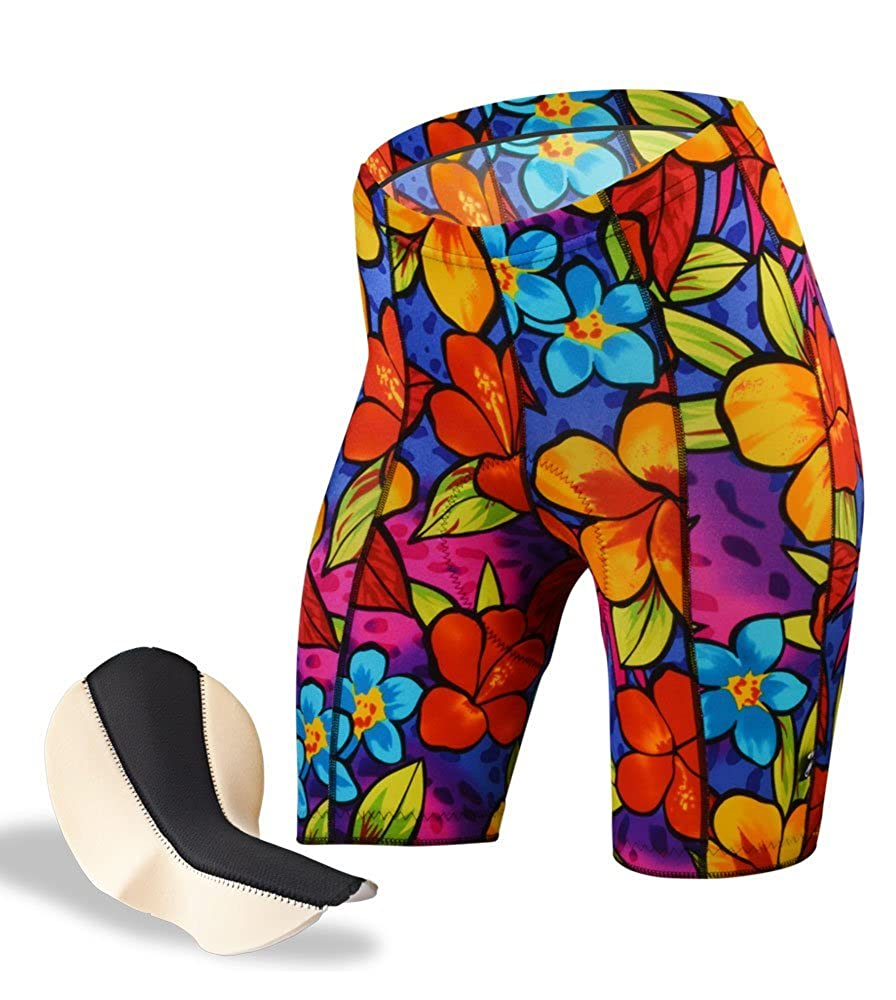Womens Tropical Print Cycling Shorts Made in The USA