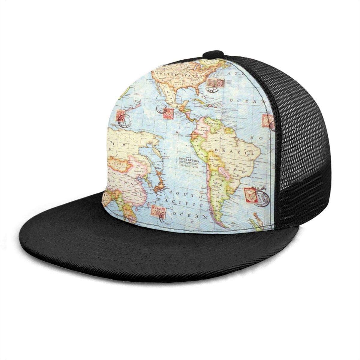 2 Classic Trucker Mesh Cap for Unisex Mens and Womens 100/% Polyester World Map Baseball Cap