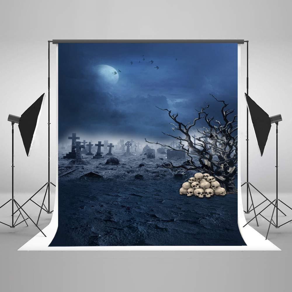 写真撮影用背景幕 5×7フィート ミスティ 霧 レンガ 墓 木 枝 写真 背景布 白 人間の頭蓋骨 背景 ハロウィン カスタマイズ可   B07GFLBGR1