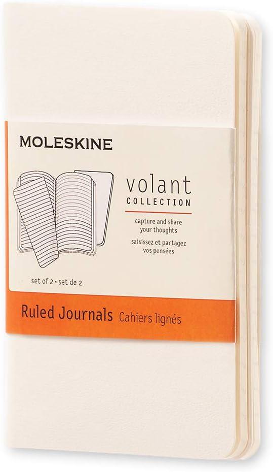 blanko, Weicher Einband, X-Small Moleskine Volant Notizhefte 2er-Set wei/ß
