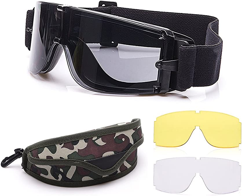 Outdoor Sports Military Airsoft Tactical Goggles with 3 Interchangable Lens Impact resistance Hunting Eyewear, UV400 Protection Shooting Glasses for Men Women Motorcycle Riding Wargame Paintball