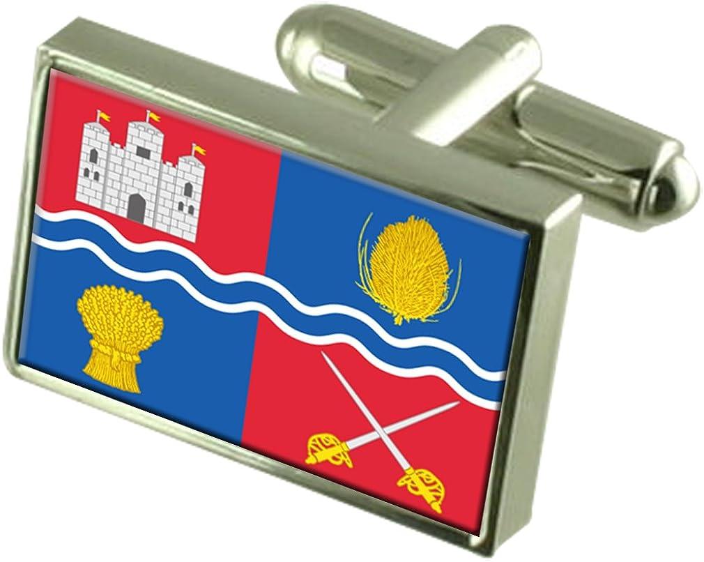 Newbury City England Flag Cufflinks Engraved Box