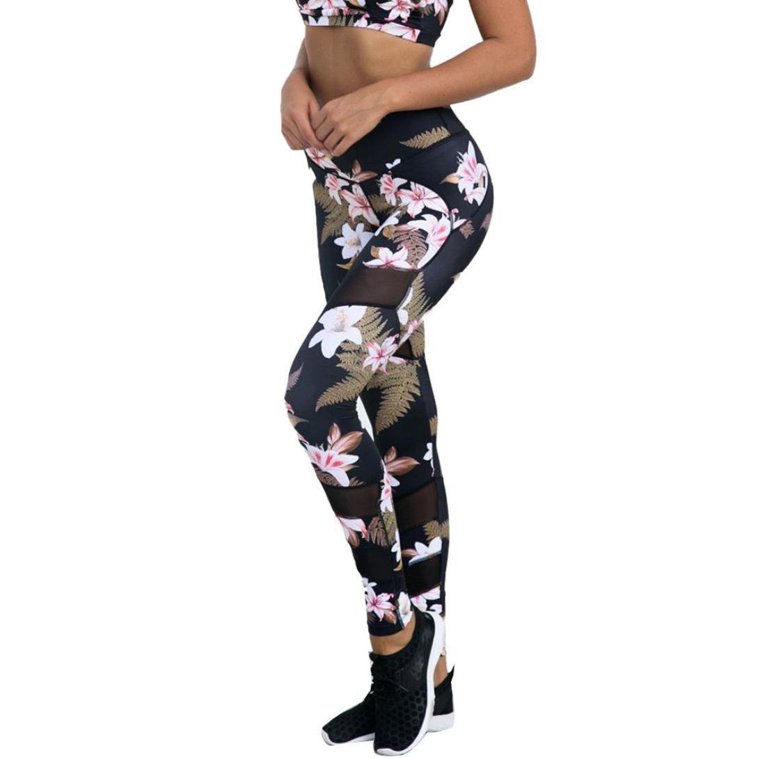 レディースハイウエスト花柄プリントパンツメッシュパッチワークヨガレギンスWorkout Capri L ブラック Large  B074PQPG2P