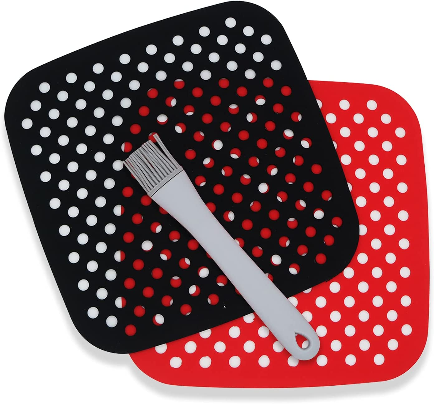 PanderHecop 2 Pcs Air Fryer Liners with Brush, Reusable 8.5 Inch Round Non-Stick Silicone Air Fryer Accessories Basket Mats for AirFryers,Bamboo Steamer,Oven (Red + Black)
