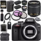 Nikon D3400 DSLR Camera with AF-P 18-55mm VR Lens (Black) + EN-EL14 Replacement Lithium Ion Battery + External Rapid Charger + Sony 64GB SDXC Card + Carrying Case Bundle