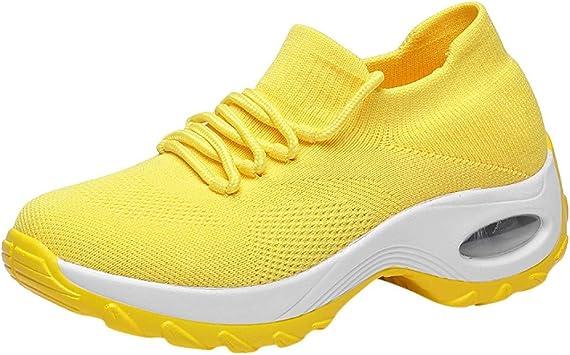 12shage Zapatillas Running Mujer Trail Fitness Tejer Volando Sneakers Ligero Transpirable Zapatos de Plataforma de Fondo Grueso: Amazon.es: Deportes y aire libre