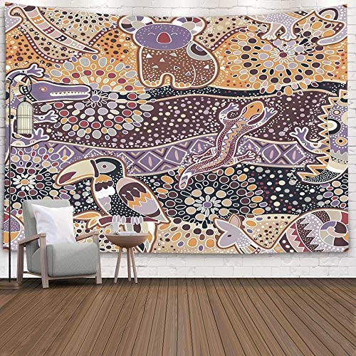 Pamime Home Decor Tapestry for Christmas Colorful Pattern Australian Animals Ethnic Backdrop Wall Tapestry Hanging Tapestries for Dorm Room Bedroom Living Room (60x80 Inches(150x200cm) Tapestry