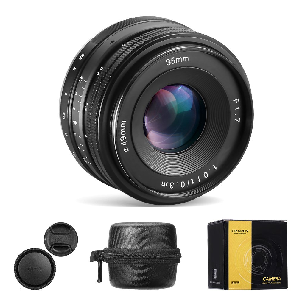 CRAPHY 35mm f/1.7-f/22 Manual Focus Prime Camera Lens Large Aperture Lens with Cleaning Wipe for Sony E-Mount Digital Cameras NEX 3, NEX 3N, NEX 5, NEX 5T, NEX 5R, NEX 6, 7 A5000, A5100, A6000, A6100 by CRAPHY
