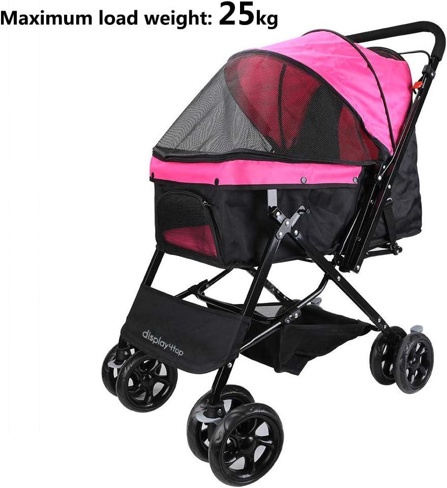 Display4top Pink Pet Travel Stroller, Carro de Cuatro Ruedas Plegable, suspensión, conmutación, Carrito para Perros y Gatos, artículos de Viaje Grandes, artículos de Viaje, artículos de Viaje