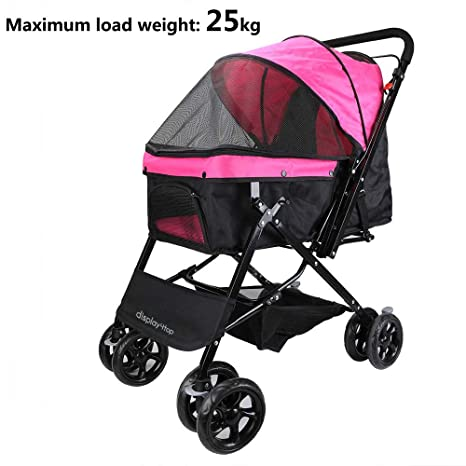 Display4top Pink Pet Travel Stroller, Carro de Cuatro Ruedas Plegable, suspensión, conmutación,