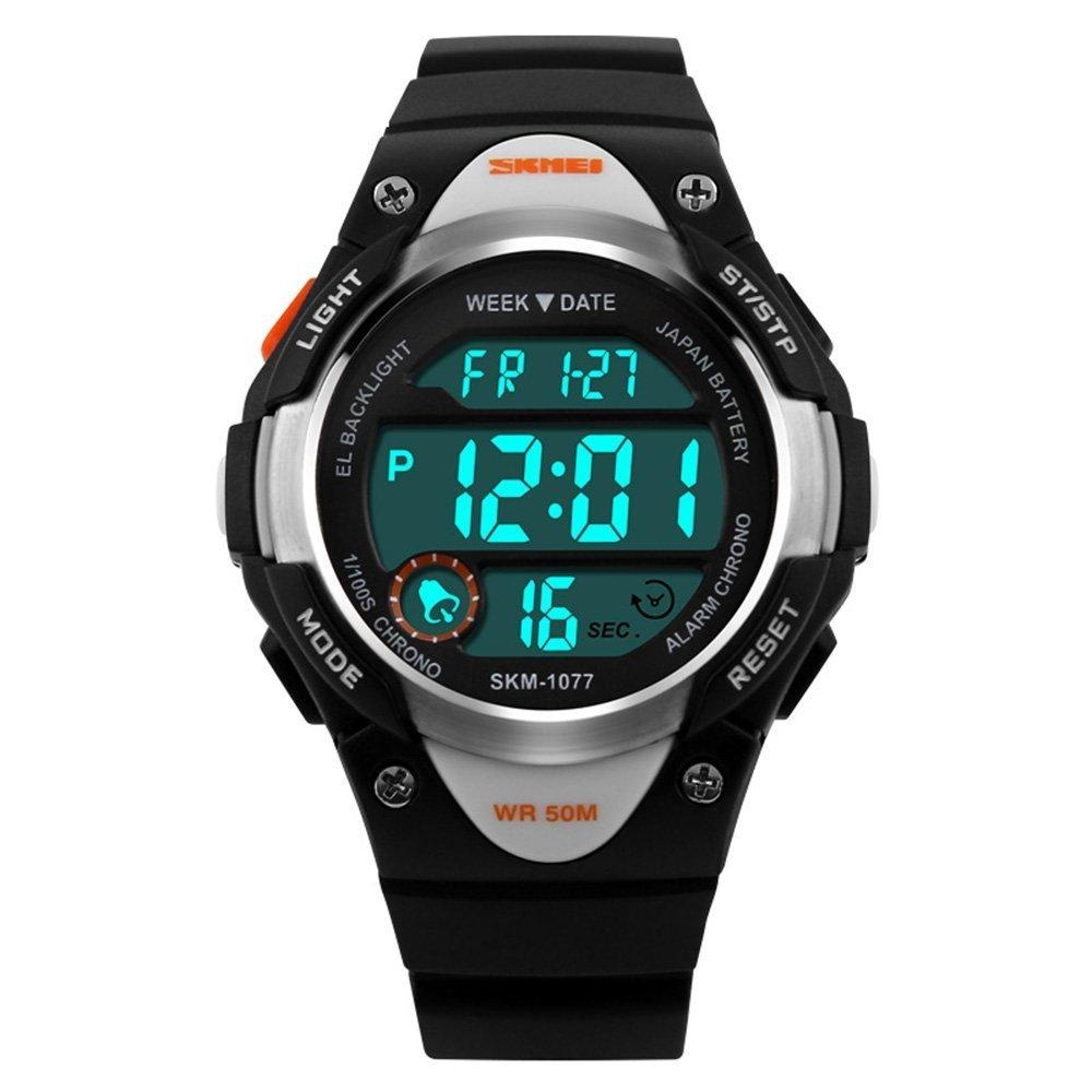 キッズスポーツデジタルウォッチ 防水 男の子 女の子 アラーム ストップウォッチタイマー付き LED電子腕時計 5~15歳 子供 ギフト 1077 ブラック  ブラック B07J1WSWG4