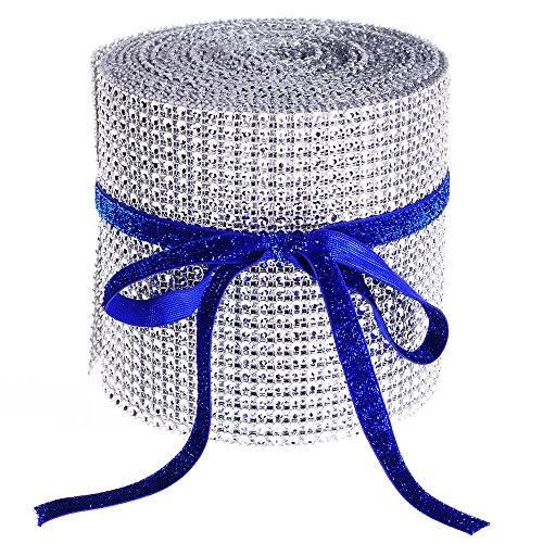 Silver Diamond Rhinestone Mesh Wrap Ribbon, 4.5
