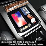 EEkiimy Wireless Charging Holder Car Centor Console Armrest Organizer Storage Box Container Glove Pallet for Tesla Model X Model S 2016 2017 2018,for iPhone X only iPhone X Wireless Charger Pad