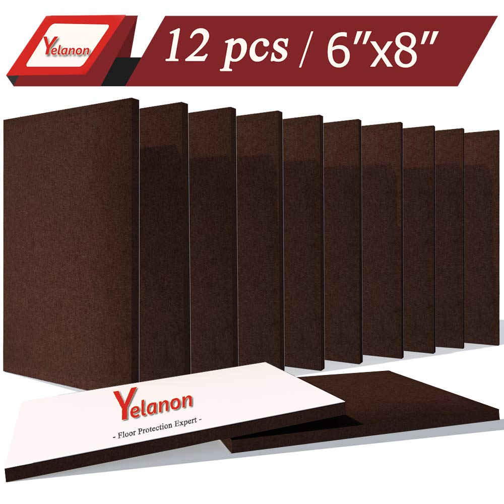 """Yelanon Furniture Felt Pads Sheets, 12 Pieces Pack Large Felt Furniture Pads 8""""x 6"""" Heavy Duty 4 mm Anti Scratch Floor Protector, for Any Home Furniture Coffee"""