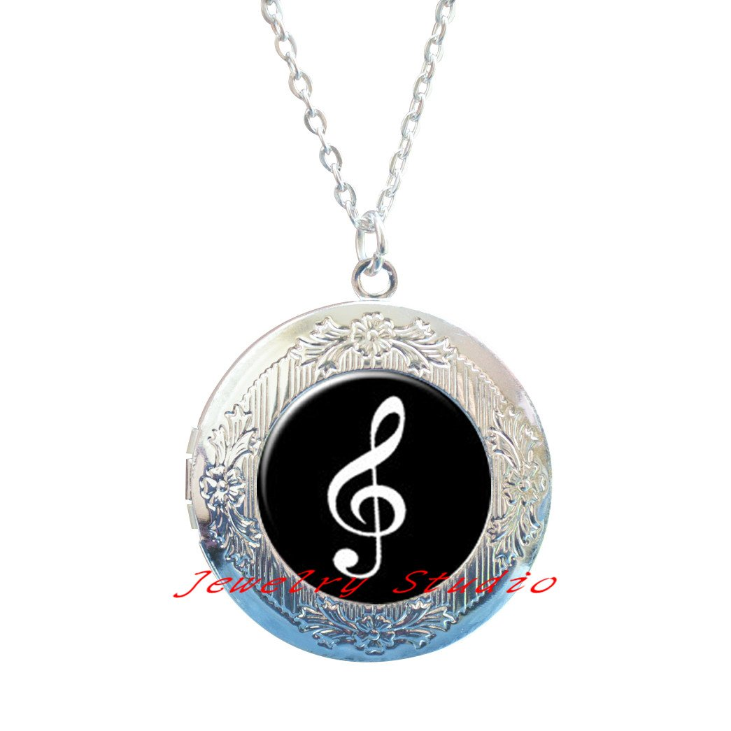 Treble Clef Locket Necklace Music Note Locket Necklace Treble Clef Jewelry Music Lovers Locket Necklace Music Locket Necklace Music Note Jewelry-HZ00327
