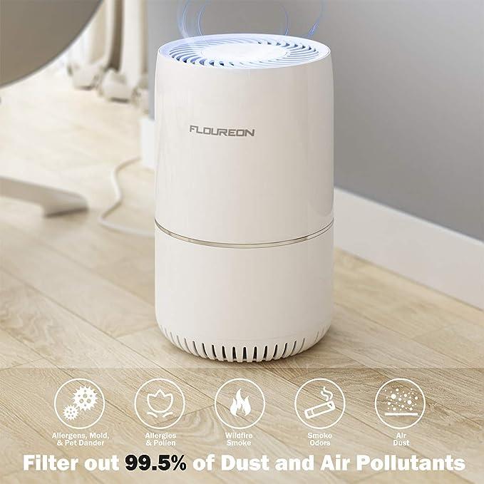 FLOUREON purificador de aire con auténtico HEPA y filtro de carbón ...