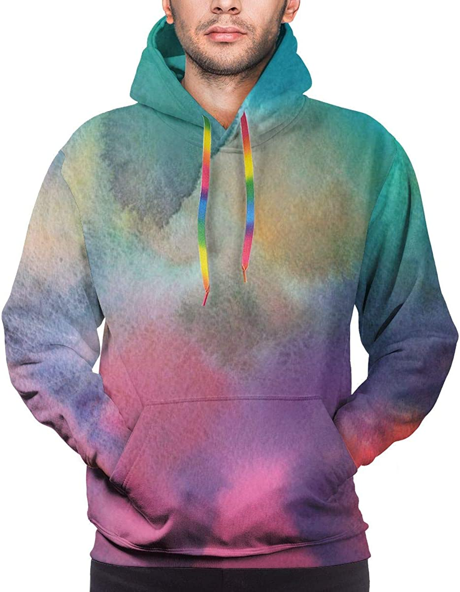 Holiday DIY Colourful Green and Pink Gradient Mens Hoodie Sweatshirt