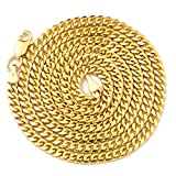 LoveBling 10K Yellow Gold 3.5mm 26'' Solid Miami Cuban Link Chain Necklace with Lobster Lock